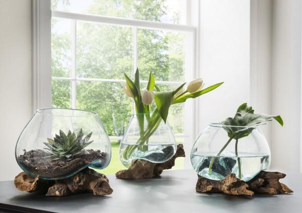 Unikat-Dekowurzel mit mundgeblasener Glasschale / -vase