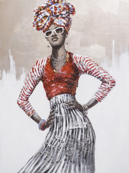 Wandbild FRAU MIT TURBAN UND BRILLE, handgemalt, in Acrylfarben