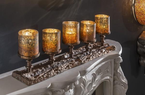 Kerzenständer mit 5 farbigen Gläsern