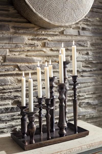 Kerzenhalter mit Teller für 8 Kerzen
