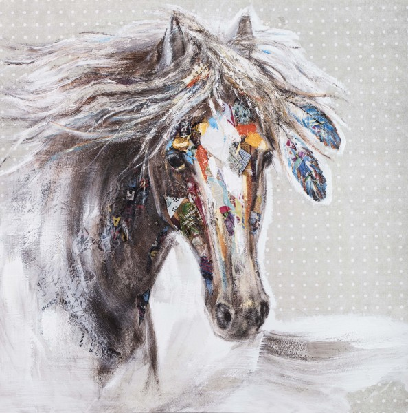 Wandbild MY HORSE, handgemalt, in Acrylfarben