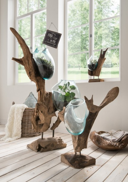 holzskulptur deko wurzel mit glasvase n in tropfenform verschiedene ausf hrungen coole deko. Black Bedroom Furniture Sets. Home Design Ideas