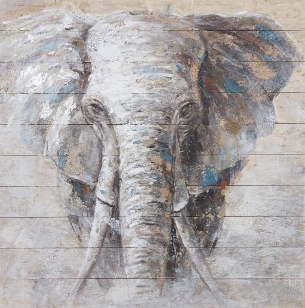 Wandbild auf Holz Elefant Nr. 4