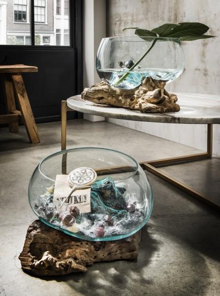 Unikat-Dekowurzel mit Glasschale
