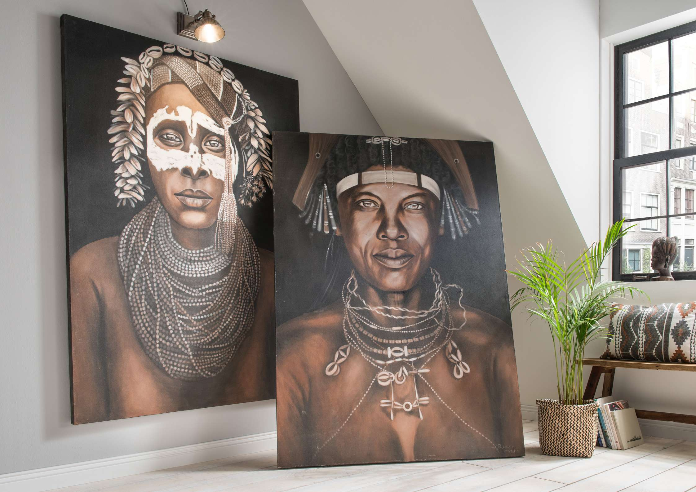 Wandbild INDIAN Man 1 rechts handgefertigt in Acrylfarben
