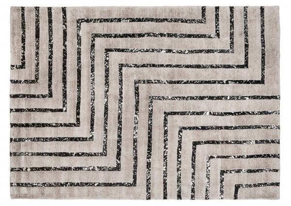 Leder/Viskose-Teppich HAMPTON, 170 x 240 cm, silber/schwarz