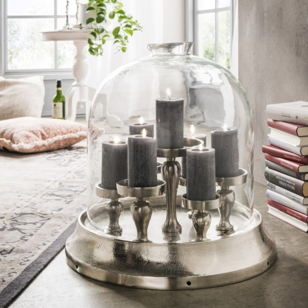 Kerzenständer mit Glashaube