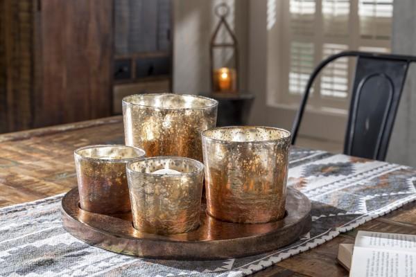 Teelicht-Tablett mit Gläsern