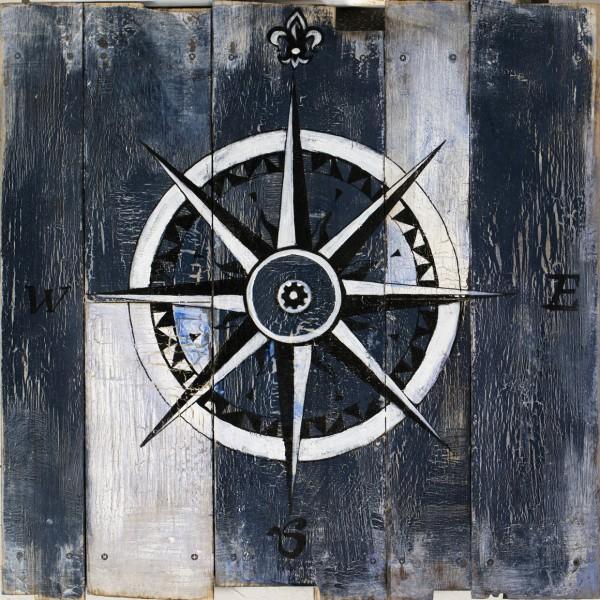 Wandbild auf Holz Windrose