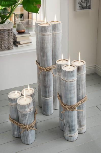 Bambus antik-weiß mit weißem Wachs 3 x 30 cm hoch, 3 x 50 cm hoch und 3 x 70 cm hoch
