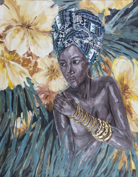 Wandbild FRAU MIT TURBAN 4, handgemalt, in Acrylfarben