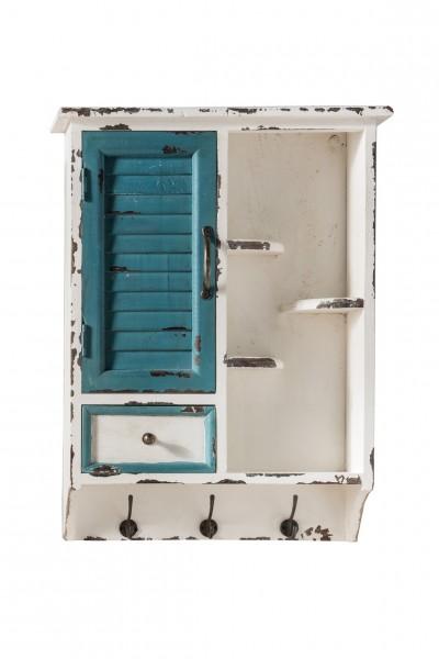 Wandschrank mit Tür, Schublade, Ablage und 3 Haken